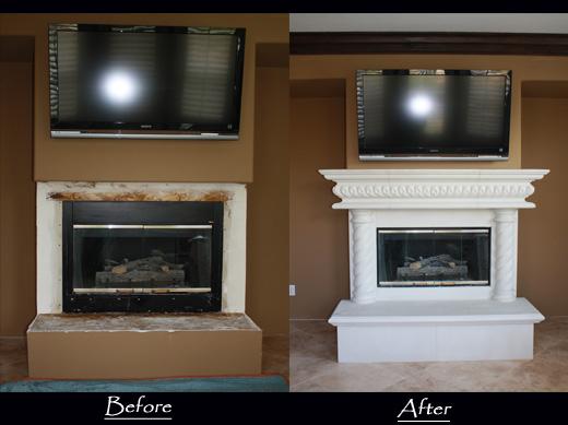 White custom made fireplace