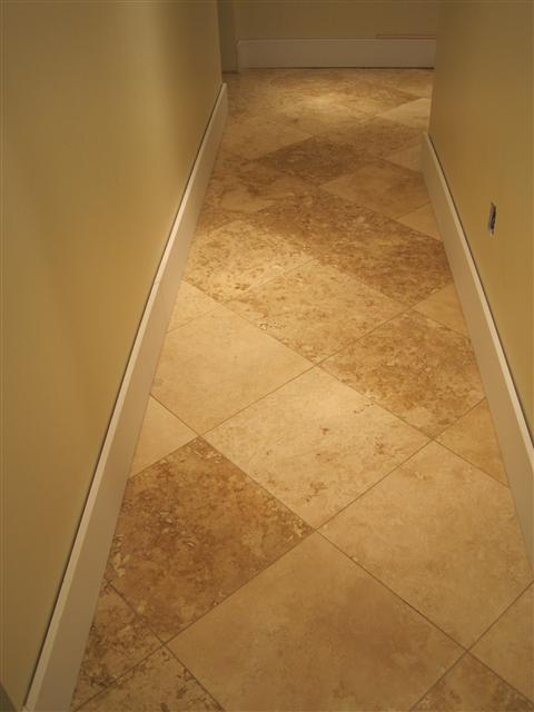 Travertine tile set on the diagnol pattern