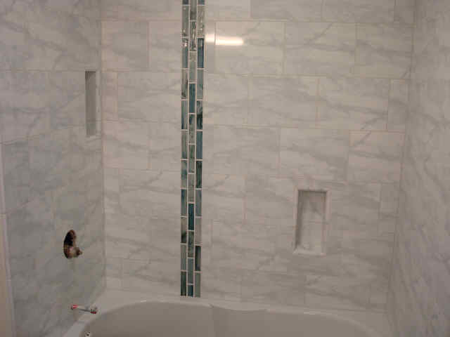 Master Bath Natural Stone and Glass Tile Installation