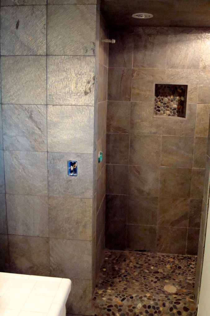 River Rock and Slate Shower Installation