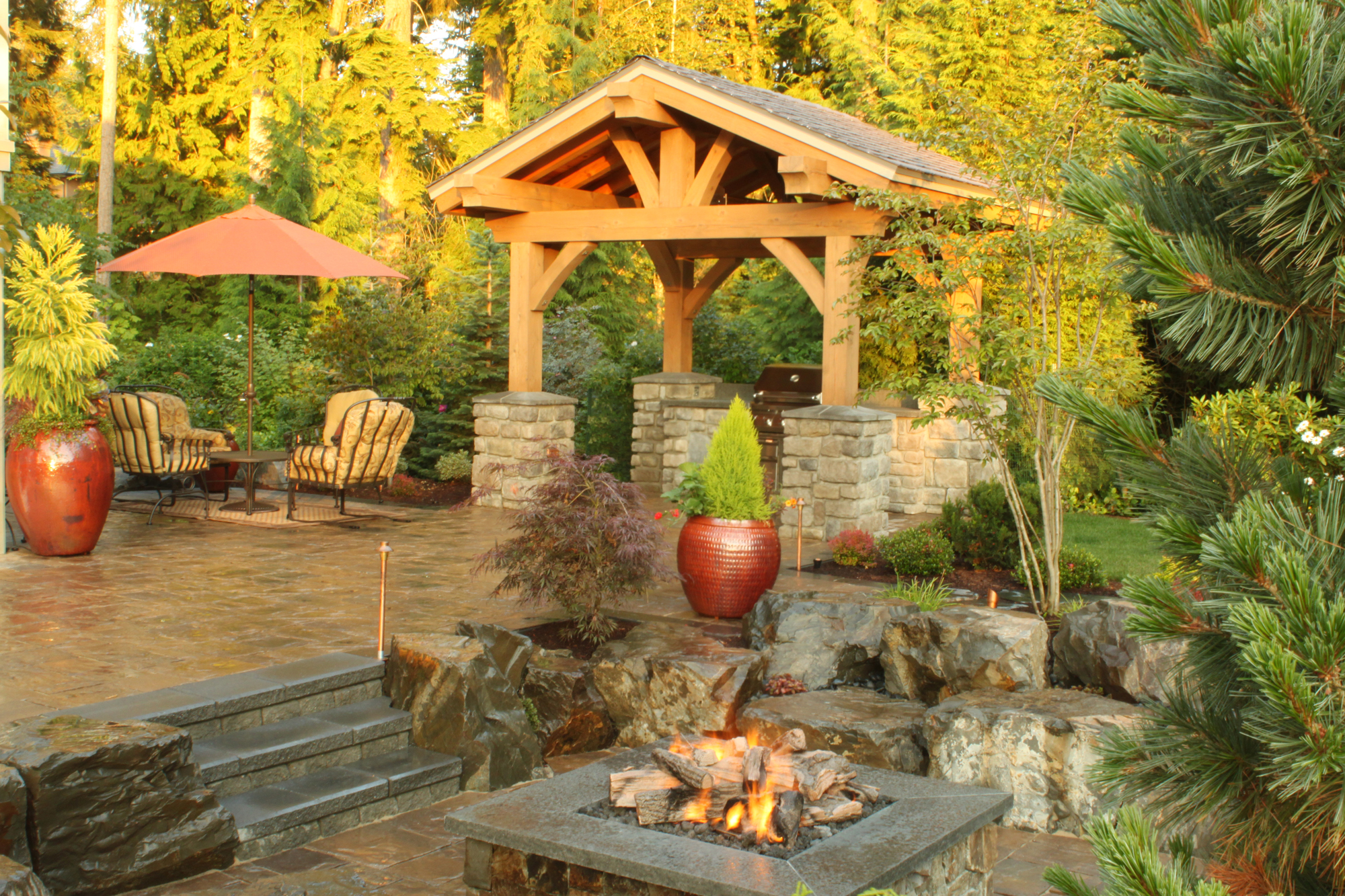 Custom Outdoor Room W/ Outdoor Kitchen & Fire Pit