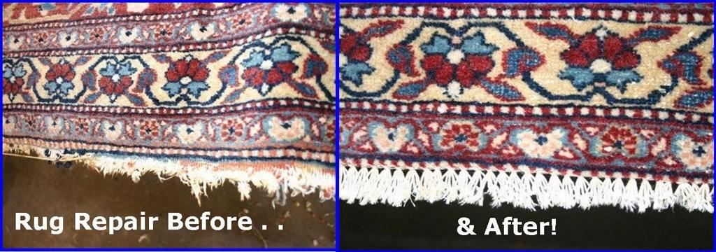 Example of Oriental Rug Fringe Repair