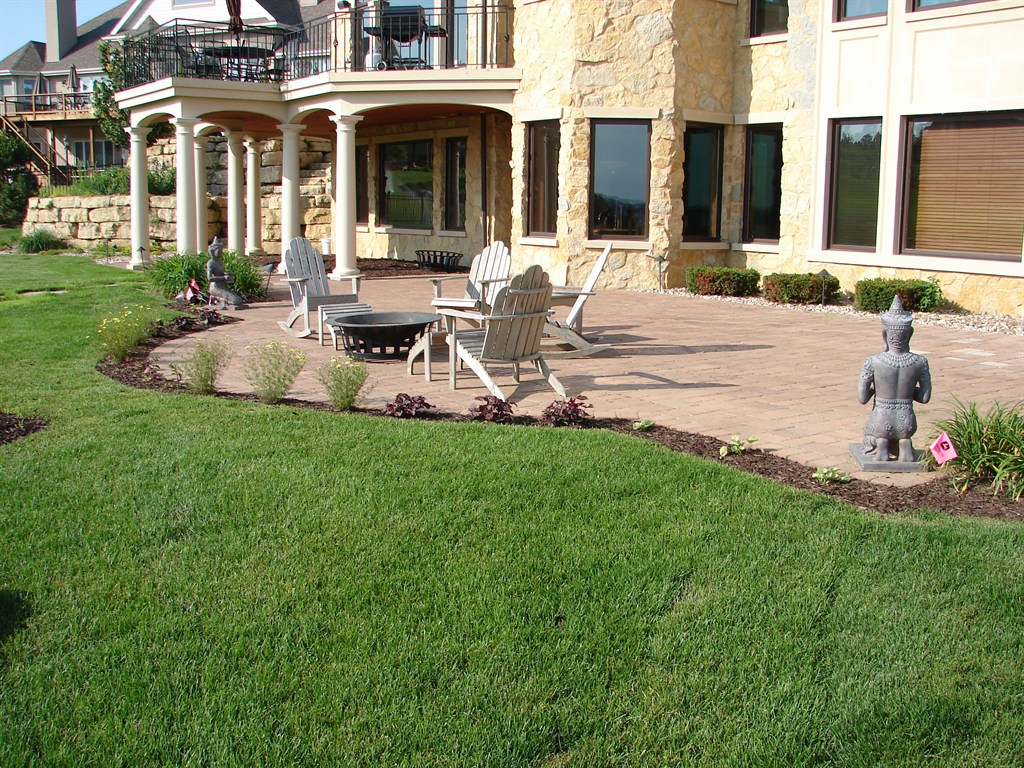 Large Patio, Sod and Plantings