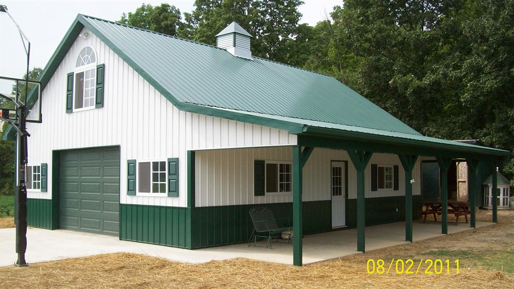 Worker bee construction llc mount gilead oh 43338 for Pole barn with porch