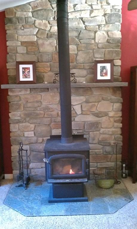 stone fireplace back up