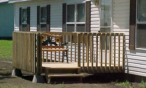 10 x 8 Deck with Deluxe Railing and Two Steps