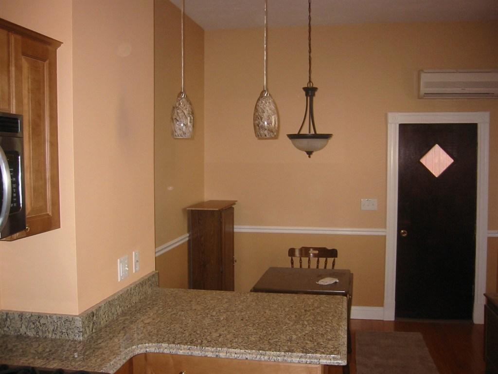 kitchen island & granite countertops.