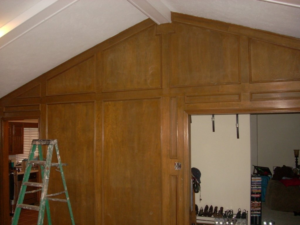 Before, wooden paneling.