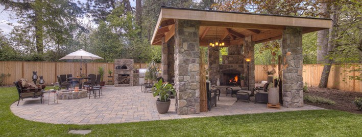 GAZEBO, OUTDOOR KITCHEN AND PIZZA OVEN, FIRE PIT, FIRPLACE, WATER FEATURE PAVER PATIO