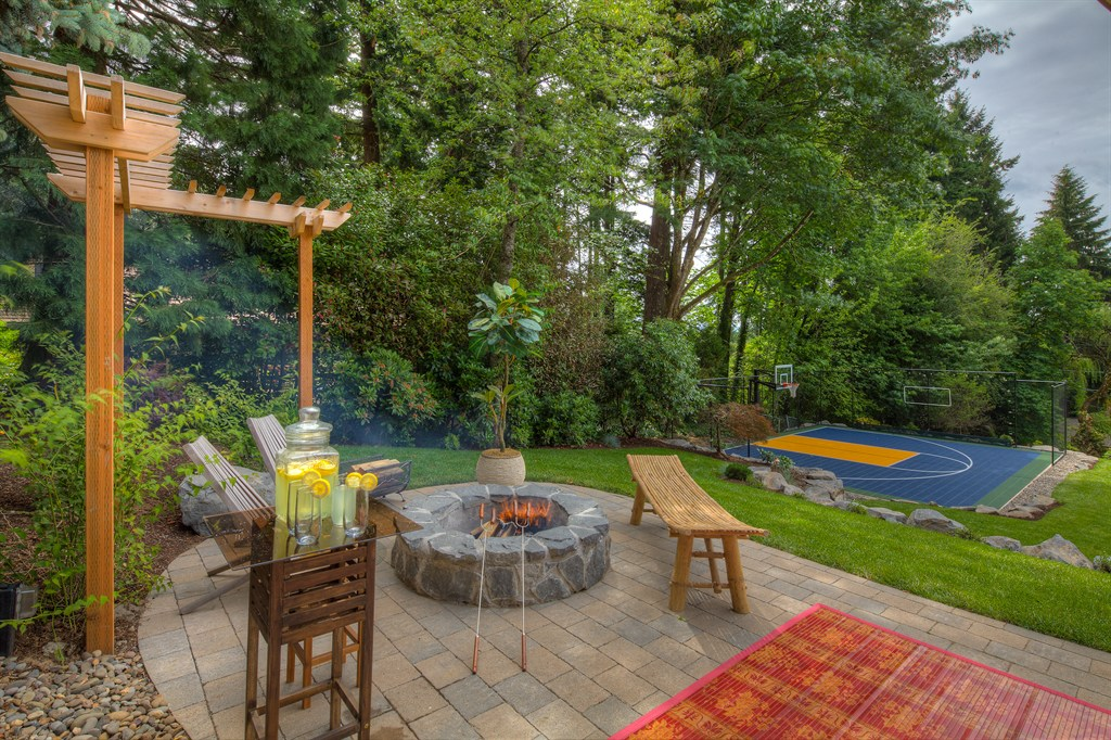 PAVER PATIO, FIRE PIT, AND BASKETBALL COURT