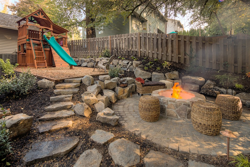 FIRE PIT ADJACENT TO PLAY AREA