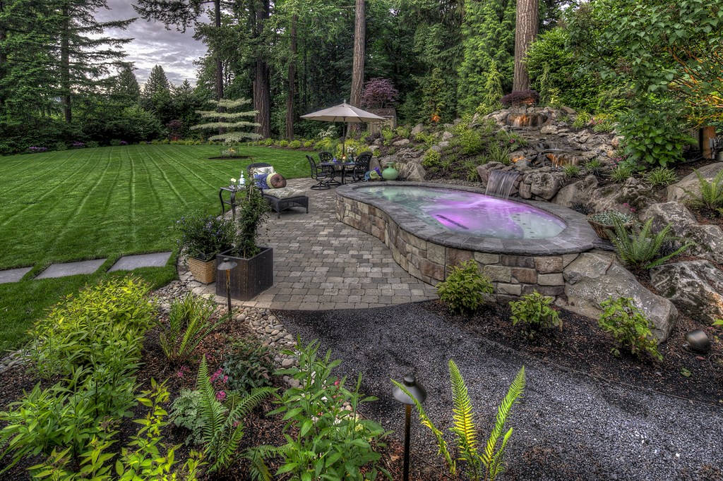 PAVER PATIO, WATER FEATURE INTO OUTDOOR SPA