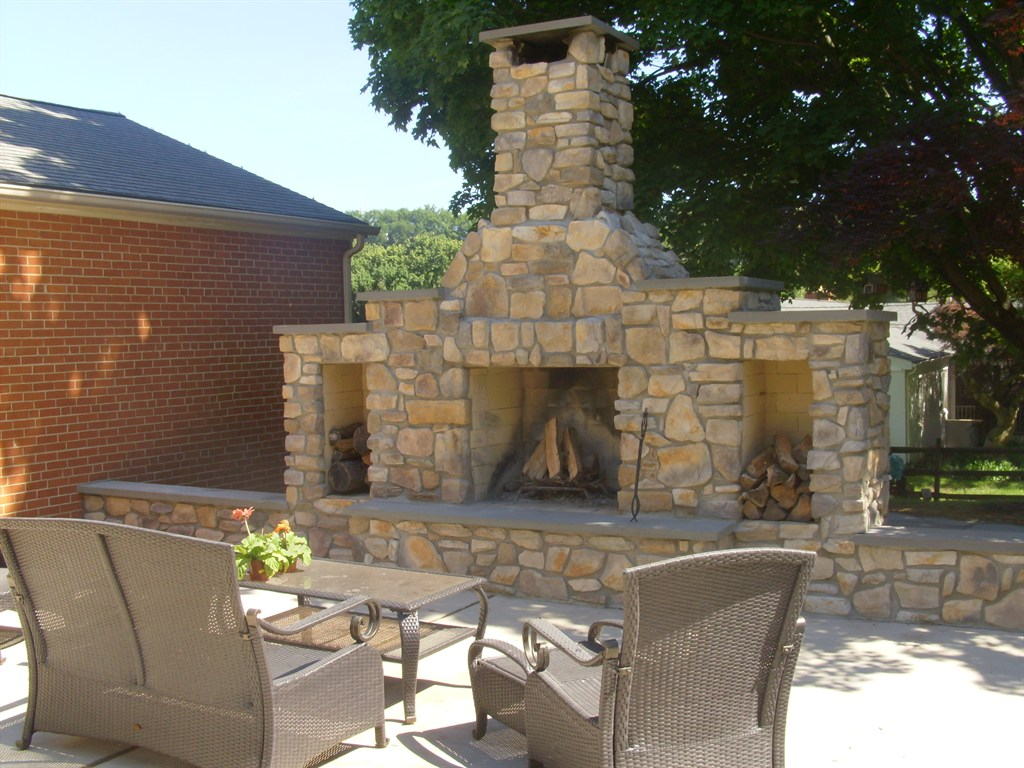 Fireplace with Patio Set