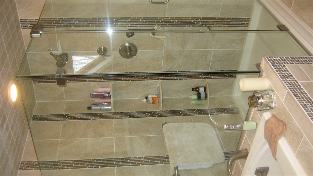 Custom Built Shower with Clear Glass Enclosure