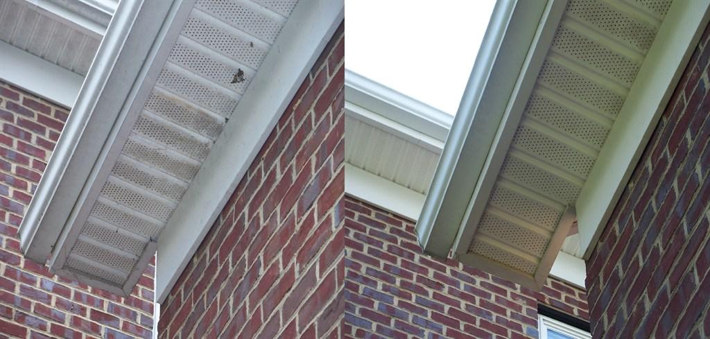 Exterior gutter whitening