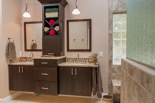 double vanity with cabinet in middle 3