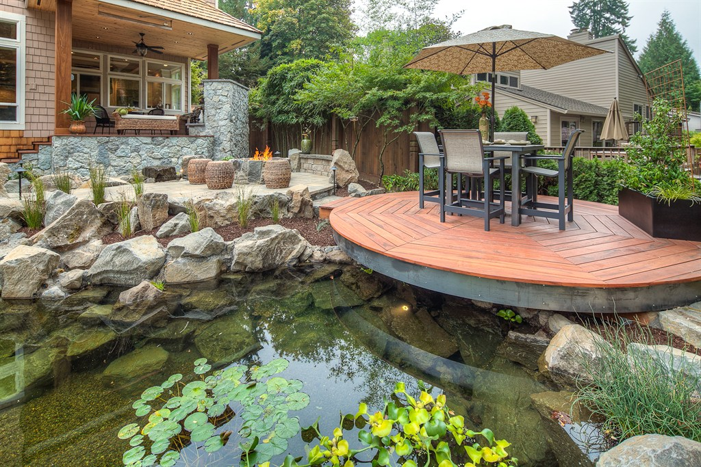 Outdoor deck and water feature japanese room native home for Diy patio pond