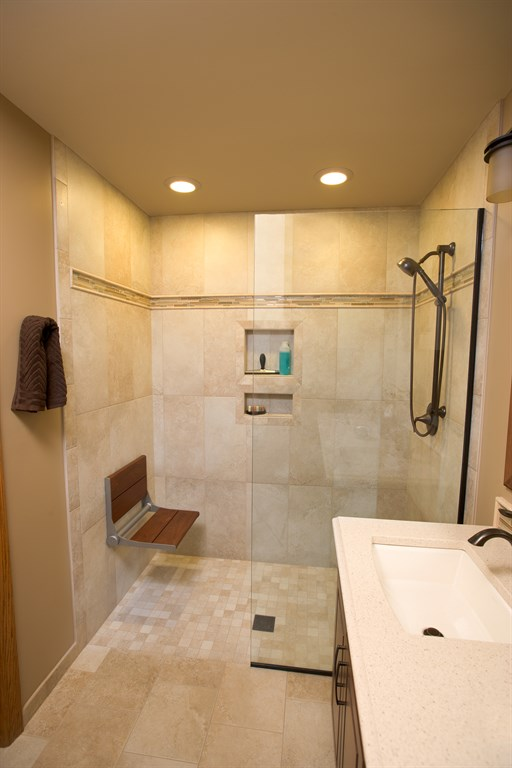 Bathroom with accessible shower.
