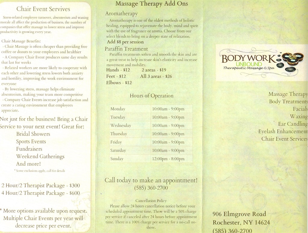 Bodywork unbound theraputic massage spa rochester ny for A list salon rochester