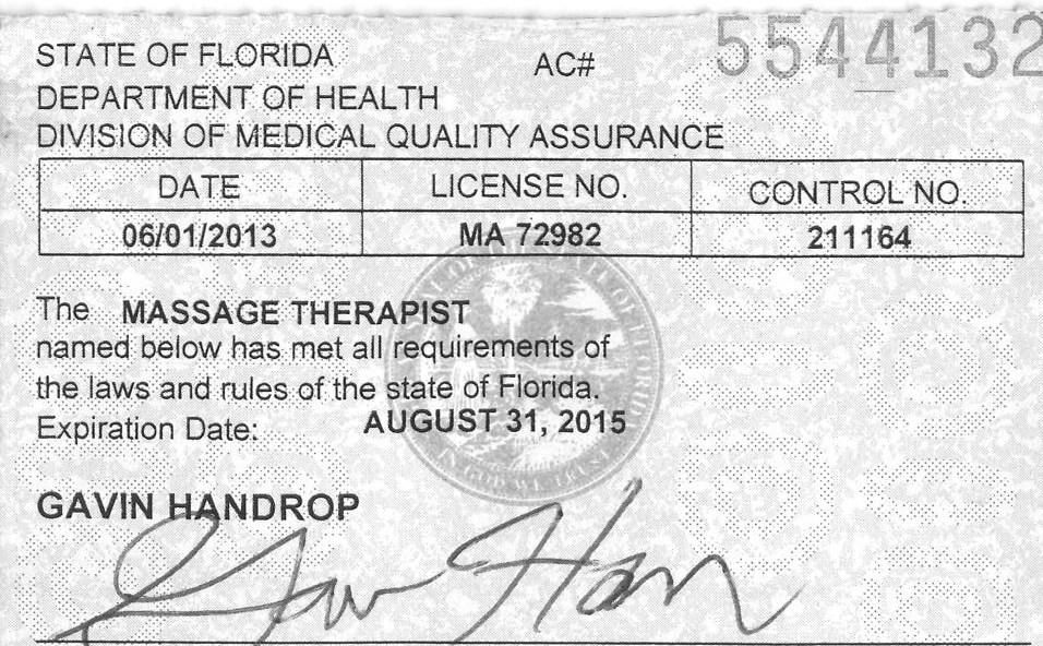 Massage License