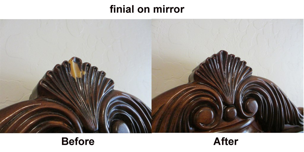mirror finial- before and after