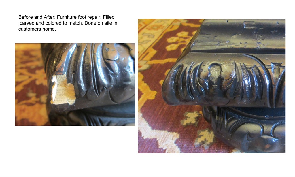 foot on bed - before and after