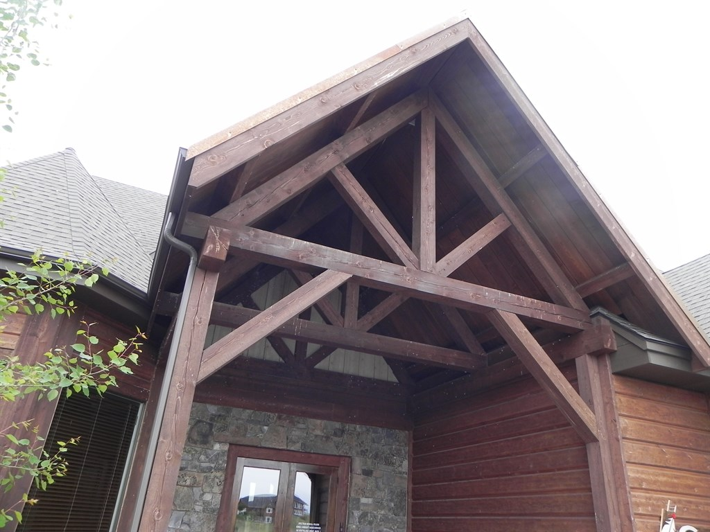 Rough timber frame entry