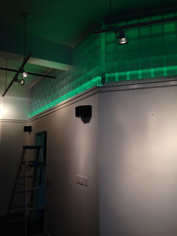 Final look of wall area lighting and glass