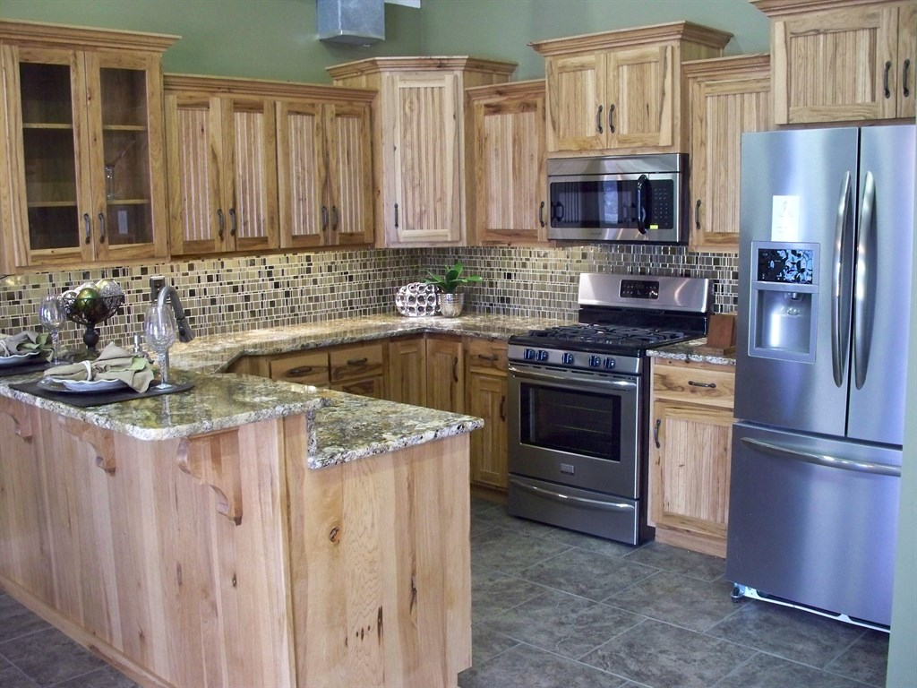 New kitchen with hickory cabinets and granite countertops for New kitchen cabinets and countertops