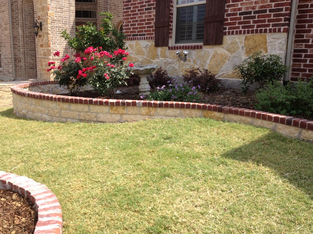 Four seasons lawn care plano tx 75094 angies list for Brick flower garden designs