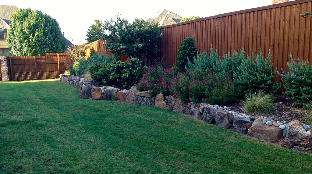 Landscape Boulders Dallas Tx : Customer in dallas texas installed redbud tree with fall mums