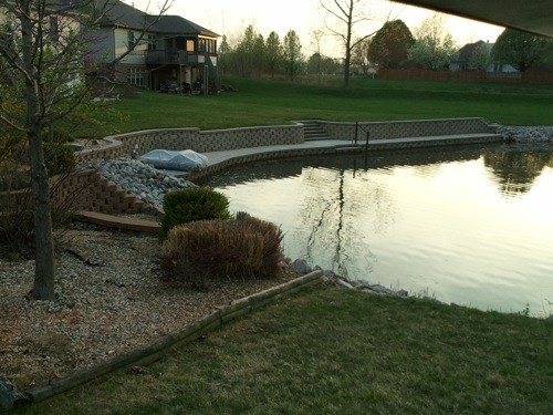 Pond Retaining Wall with Stairs
