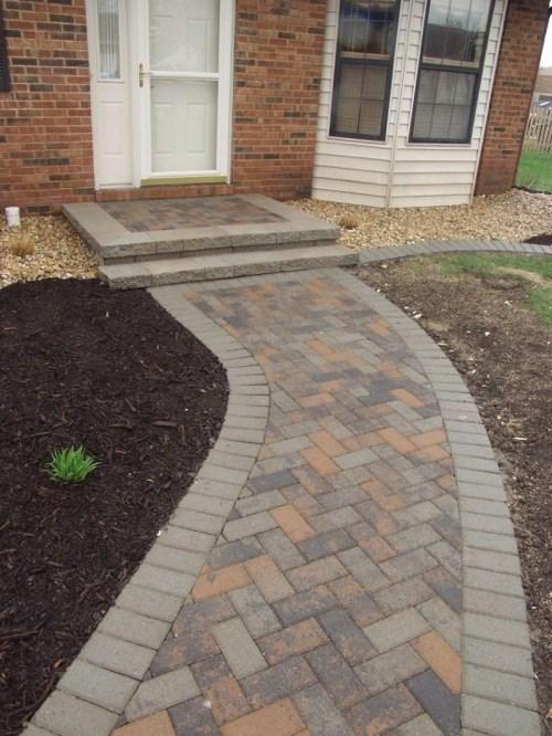 Stone Porch with Brick Sidewalk
