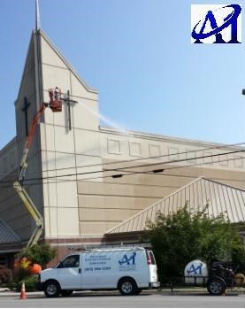 we are performing a soft washing on a five story EIFS church in Knoxville TN
