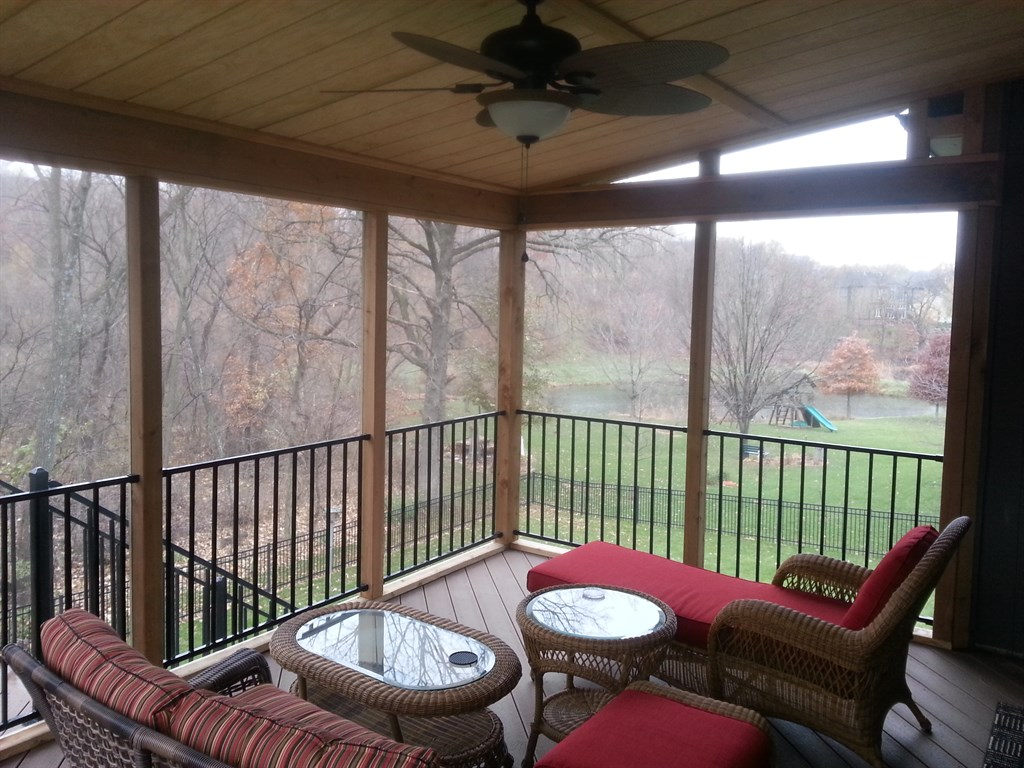 Screened in porch with closed in storage shed-Blue Springs, MO