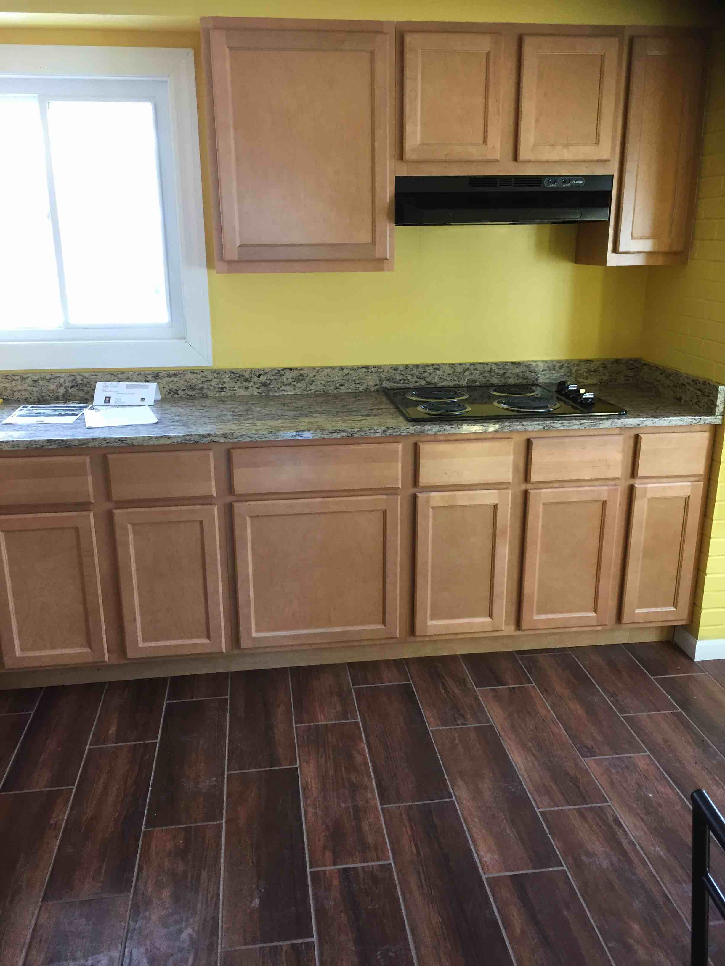 New cabinet, countertops and floors