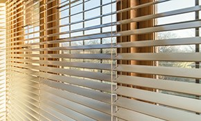$799 for 10 Faux Wood Blinds, Measuring and...