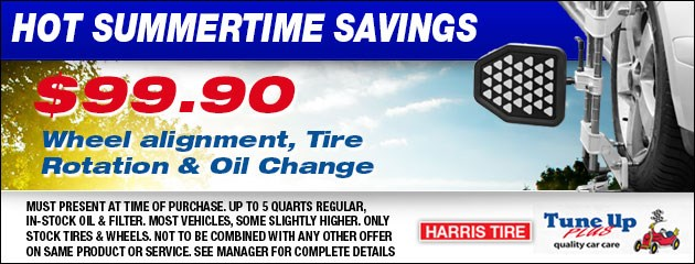 WHEEL ALIGNMENT, TIRE ROTATION & OIL CHANGE