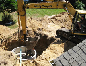 backhoe during septic tank installation