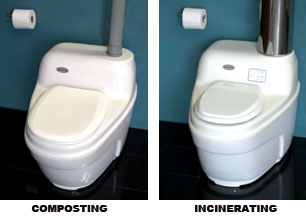 composting toilet and incinerating toilet
